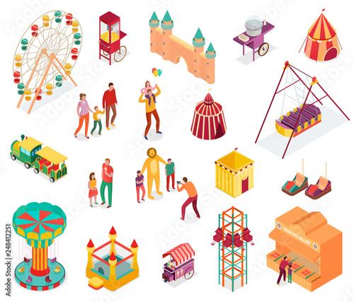 Photo Amusement Park Isometric Set