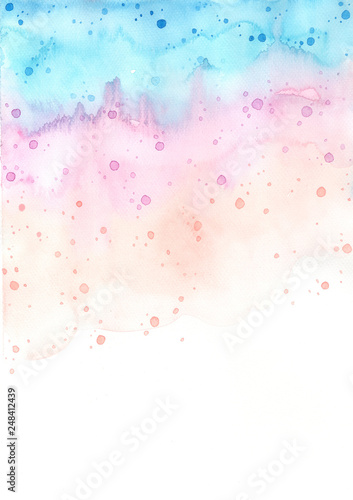 Abstract sweet pastel rainbow watercolor hand painting background for decoration - 248412439