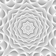 White And Light Grey Futuristic Flower Pattern. Monochromatic Design For Backgrounds, Templates, Backdrops, Surface, Textile And Fabric Designs. 3d Render Illustration