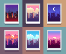 Windows Day Time. Early Morning Sunrise Sunset, Noon And Dusk Evening, Night Cityscape Skyscrapers Inside Home Window