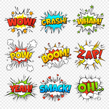 Comic Bubbles. Funny Comics Words In Speech Bubble Frames. Wow Oops Bang Zap Thinking Clouds. Expression Balloons Set