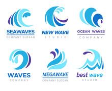 Sea Wave Logo. Ocean Storm Tide Waves Wavy River Blue Water Splash Design Emblems Labels Vector Isolated Collection
