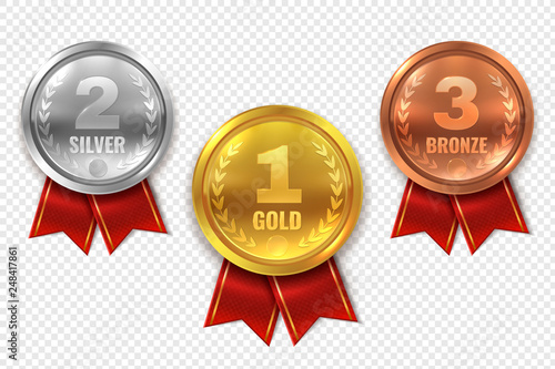 Realistic award medals. Winner medal gold bronze silver first place trophy champion honor best circle ceremony prize