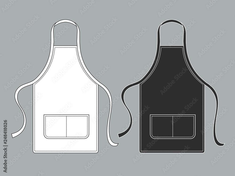 Fototapeta Chef apron. Black white culinary aprons chef uniform kitchen cotton kitchen worker woman wearing waiter vest template