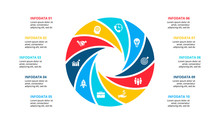 Circle Element For Infographic With 10 Options, Parts Or Steps. Template For Cycle Diagram, Graph And Round Chart