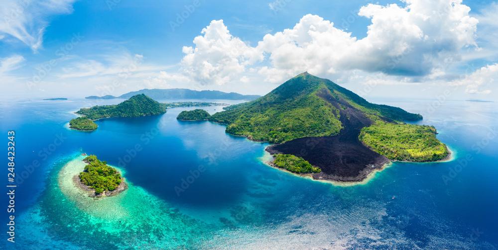 Fototapety, obrazy: Aerial view Banda Islands Moluccas archipelago Indonesia, Pulau Gunung Api, lava flows, coral reef white sand beach. Top travel tourist destination, best diving snorkeling.