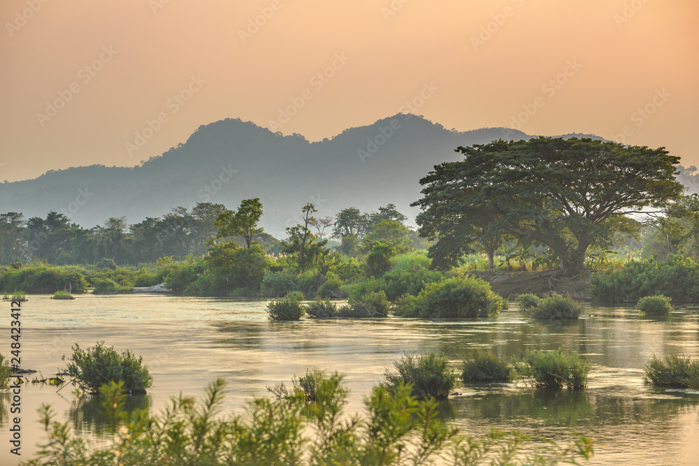 Fototapety, obrazy: Mekong River 4000 islands Laos, sunrise dramatic sky, mist fog on water, famous travel destination backpacker in South East Asia