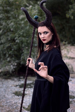 Wicked Maleficent Without Wings With A Staff. Malesessy Photo Session.