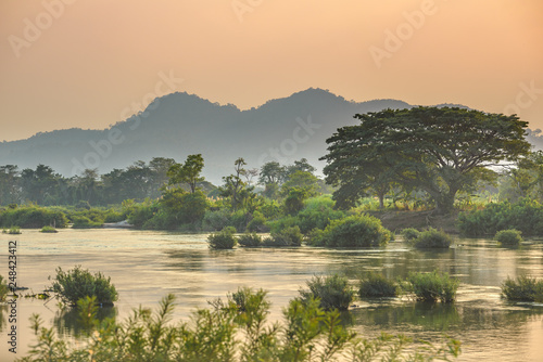 Mekong River 4000 islands Laos, sunrise dramatic sky, mist fog on water, famous Canvas Print