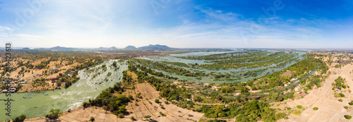 Fotografie, Obraz  Aerial panoramic 4000 islands Mekong River in Laos, Li Phi waterfalls, famous tr
