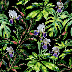Panel Szklany Współczesny Seamless watercolor tropical pattern with green schefflera arboricola plant and iris flowers, croton and dwarf umbrella tree. Exotic wallpaper pattern with tropic plants.