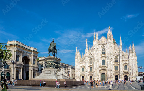 Milan Cathedral (Duomo di Milano) and Vittorio Emanuele II equestrian statue at Cathedral square of Milan, Lombardy, Italy Canvas Print