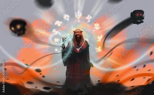 Fotografija Digital illustration art design style a Sorcerer spelling dark magic against explosion land