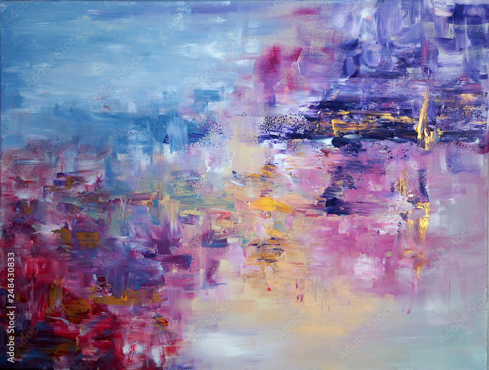 Painting of smears of different colors on canvas for the interior, as an abstraction, background and texture