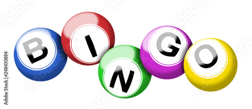 Photo Colorful bingo balls illustration isolated on white with clipping path