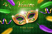 Poster With Masquerade Mask For Mardi Gras Festival. Venetian Carnival Face Cover Part With Feather And Confetti, Diamonds. Fat Tuesday Festive And Venice Holiday Flyer, Party And Celebration Theme
