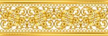 Seamless Golden Ornamental Segment On White