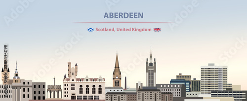 Vector illustration of Aberdeen city skyline on colorful gradient beautiful day Canvas Print