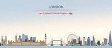 Vector Illustration Of London City Skyline On Colorful Gradient Beautiful Day Sky Background With Flags Of  England And United Kingdom