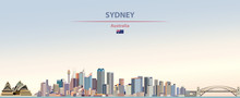 Vector Illustration Of Sydney City Skyline On Colorful Gradient Beautiful Day Sky Background With Flag Of  Australia