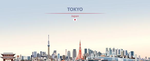 Vektorska ilustracija gradskog horizonta Tokija na živopisnoj pozadini lijepog neba s zastavom Japana
