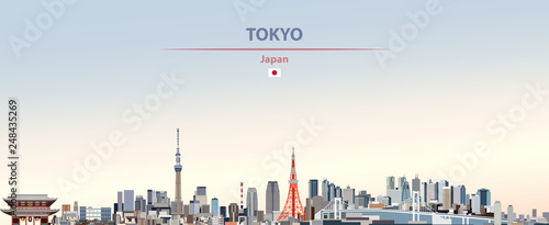 Vector illustration of Tokyo city skyline on colorful gradient beautiful day sky Wallpaper Mural