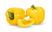 Yellow Peppers Isolated On Whi...