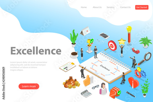 Photo  Isometric flat vector landing page template of business excellence