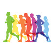 Silhouette of people running marathon, Vector