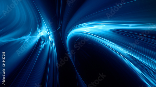 Obraz Abstract blue on black background texture. Dynamic curves ands blurs pattern. Detailed fractal graphics. Science and technology concept. - fototapety do salonu