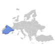 Vector illustration of Spain in blue on the grey model of Europe map.