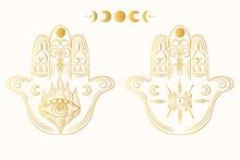 Hand Drawn Boho Hamsa. Ethnic ...