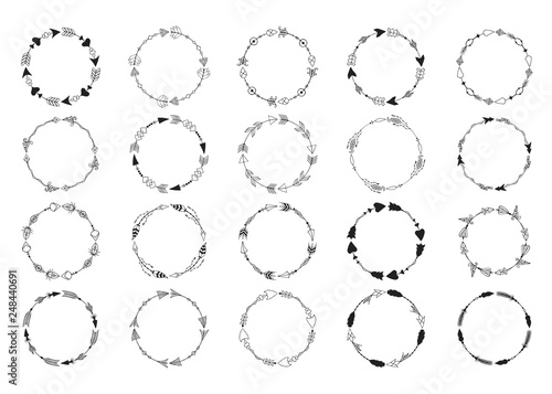 Big collection of hand drawn tribal boho round arrow frames Wallpaper Mural