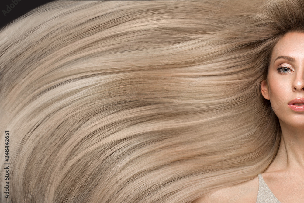 Fototapety, obrazy: Beautiful blond girl in move with a perfectly smooth hair, and classic make-up. Beauty face.