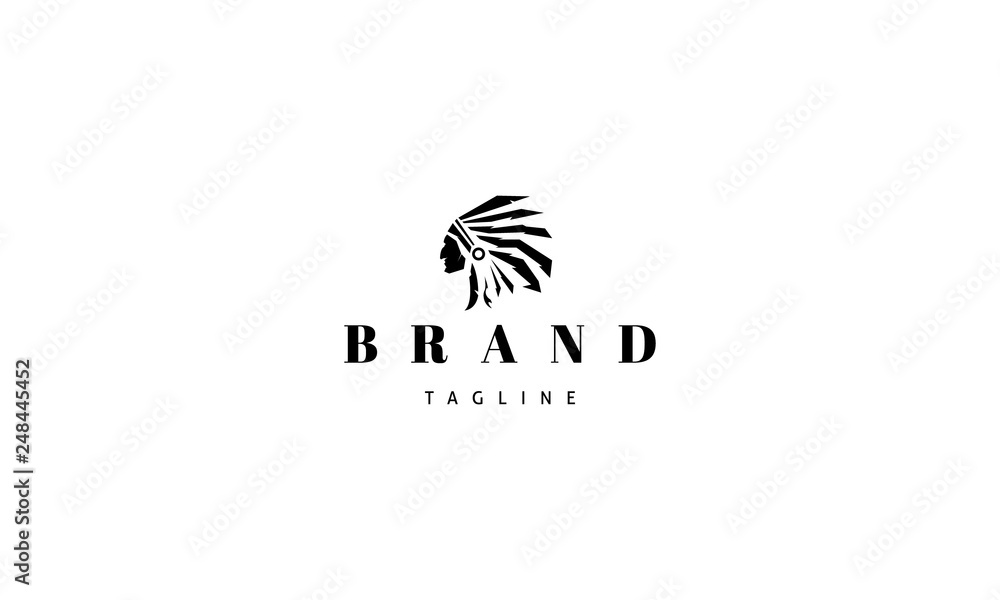 Fototapeta Redskins Injun indian black vector logo image