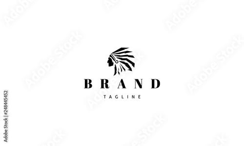 Fototapeta Redskins Injun indian black vector logo image obraz
