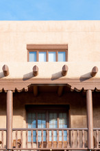Traditional Southwestern Styled House In Santa Fe Historic Downtown, New Mexico, USA