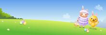 Easter Chicken And Lamb Hunting Eggs - Spring Landscape Background - Banner Vector Illustration