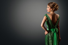 Fashion Model Green Sequin Dress, Elegant Woman In Sparkling Retro Gown, Young Girl Back Rear View