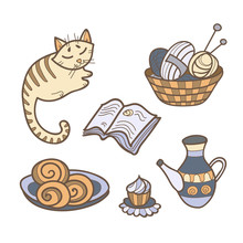 Lets Stay Home Colorful Poster. Cute Doodles With Cat, Needlework, Tea, Book, Sweets.