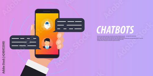 Chatbot concept  Man chatting with chat bot on smartphone