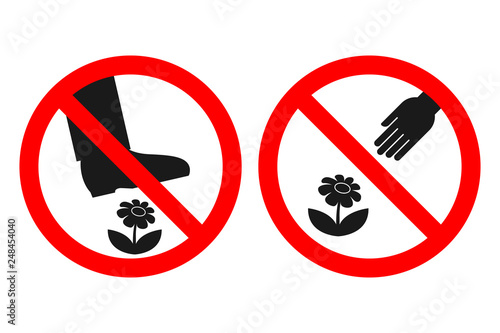 Fotografie, Obraz DO NOT PICK FLOWERS sign. DO NOT WALK ON LAWN label. Vector.