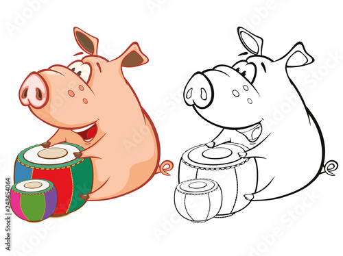 Foto op Plexiglas Babykamer Vector Illustration of a Cute Pig Musician. Coloring Book Cartoon