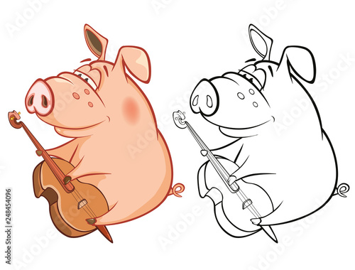 Vector Illustration of a Cute Pig Musician. Coloring Book Cartoon