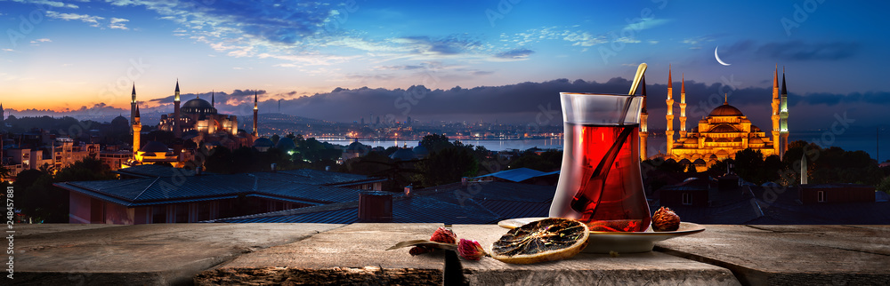 Fototapety, obrazy: Tea and panorama of Istanbul