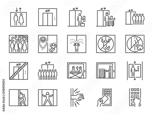Fototapeta Lift line icon set. Included icons as elevator, goods elevator, goods lift, passenger, freight and more. obraz