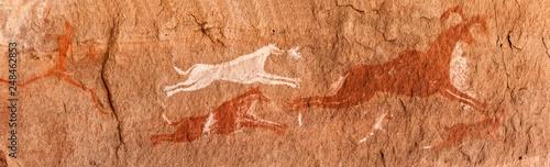 Fototapeta Prehistoric Petroglyphs - Rock Art - Akakus (Acacus) Mountains, Sahara, Libya
