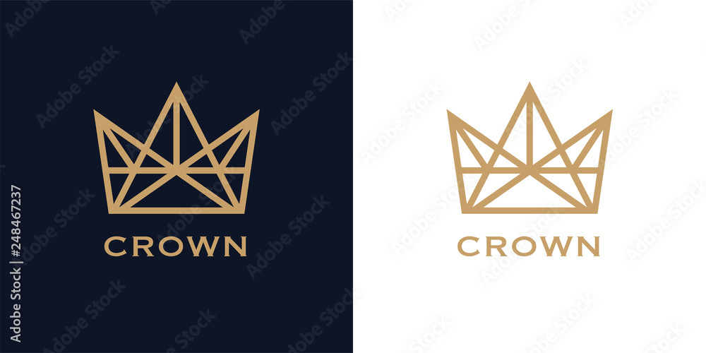 Fototapeta Premium style abstract crown logo symbol on blue background. Royal king icon. Modern luxury brand element sign. Vector illustration.