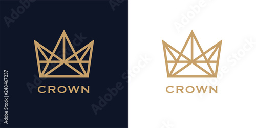 Premium style abstract crown logo symbol on blue background Fotobehang