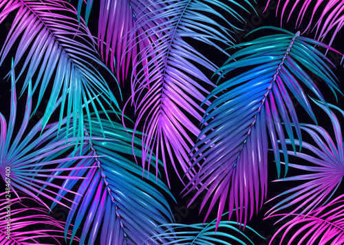 Fototapeten Künstlich Tropic leaves seamless pattern in neon colors